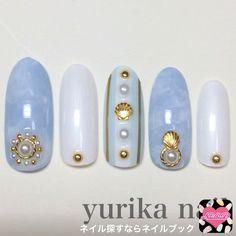 ネイル 画像 yurika nail  1507098 緑 白 青 シェル マーブル マリン 夏 デート リゾート 海 ソフトジェル ハンド ロング