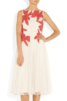 Codie floral-appliquéd tulle dress by Tory Burch