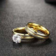 Stainless Steel 1.50ct Simulated Diamond Wedding Set