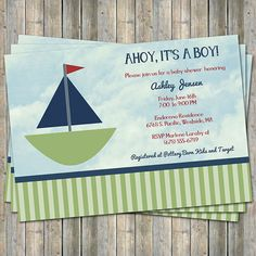 Sailboat Baby shower invitation Ahoy Its a by freshlysqueezedcards, $13.00