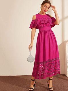 TAKERA Long cotton dress Pregnant long ruffl Pink dress women Loose fit dress with pockets,Maxi dress cotton off the shoulder peach dress