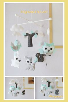 Baby Mobile - Owls & Birds Mobile - Ceiling Hanging Mobile - White Grey Turquoise Owl Squirrel Deer Bird Bunny (Custom Color Available)