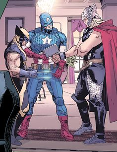 Wolverine, Captain America doin' rock paper scissors (from Gambit vol.5 #9) by Clay Mann