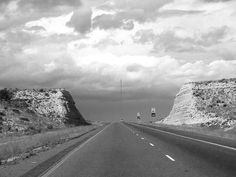 West Texas Highway in Black and White