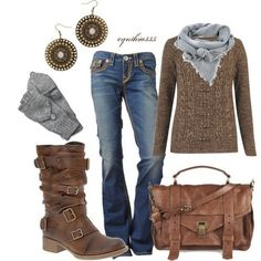 Brown sweater, gray scarf, boot cut jeans, brown strap boots, brown leather messenger handbag, bronze disc earrings.