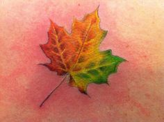 Maple leaf tattoo I got for my home state, Vermont :) Tattoo done by Cynthia Finch at Mom's Tattoo in Keene, New Hampshire. #vermont #802 #tattoo #backtattoo #mapleleaf #color #girlswithtattoos #ink