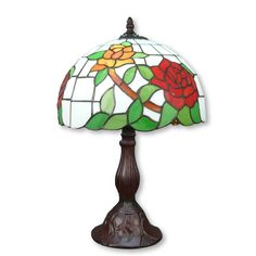 Tiffany lamp with rose – htdeco. Large collection of Dragonfly Tiffany lamps, butterflies and table lamps. Louis Comfort Tiffany, Tiffany Lamp Shade, Tiffany Table Lamps, Tiffany Rose, Applique Art Deco, Tall Table Lamps, Lampe Decoration, Chandeliers, Candelabra Bulbs