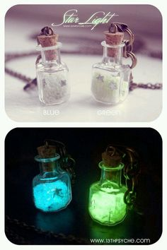 Glow in the dark mini bottles necklace