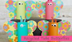 Some time ago, I created these adorable toilet paper tube butterflies when I worked for a scrapbooking company.