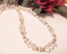 Ice & Frosting  Crystal and Pearls Necklace by RomanticThoughts