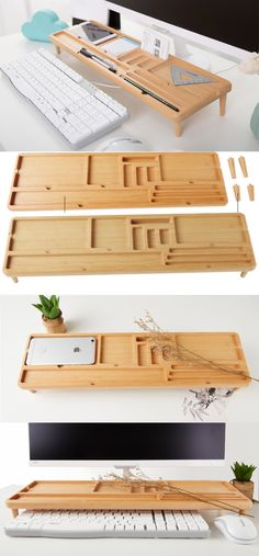 Eco Friendly Wooden Stationery Office Desk Organizer Pen Pencil Holder iPad Cell Phone Charging Station Dock Holder Business Card Display Stand Holder Paper Clip Holder Collection Charge Cord Cable Organizer Management System Over the Keyboard