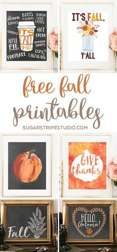 It's finally time to break out the fall decor! Today I'm sharing six free fall printables to help you get your fall wall art game on point. Autumn Decorations, Fall Decor Signs, Thanksgiving Decorations, Autumn Fall, Fall Diy, Autumn Home, Decorating Games, Decorating Blogs, Fall Decorating