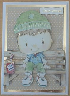 #Kanban This card has been made using a white base card and gold mirri for matting and layering. The backing paper, decoupage topperand greeting are from the Kanban patchwork pals kit.