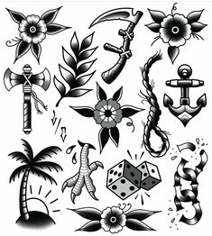 Traditionell - Famous Last Words Traditional Tattoo Black And White, Traditional Tattoo Flowers, Traditional Tattoo Old School, Traditional Tattoo Design, Traditional Tattoo Flash, Tatuagem Old Scholl, Tattoo Tradicional, Tattoo Minimaliste, Tattoos Mandala