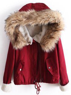 Red Fur Hooded Long Sleeve Drawstring Coat US$45.62