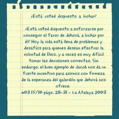 #JW articulo alentador.    w03 15/10 pags 28-31 www.jw.org #reflexion #aliento