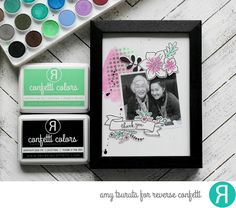 Photo frame by Amy Tsuruta. Reverse Confetti stamps: Build A Bunch, Blooms 'N Buds, Banner in Bloom. Confetti Cuts: Build A Bunch, Blooms 'N Buds, Banner in Bloom. RC stencil: Lotsa Dots. Mother's Day.