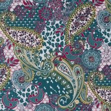 White/Tidepool/Dandelion+Paisley+and+Floral+Printed+Cotton+Sateen