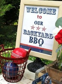 Backyard BBQ Bash | Use a picture frame to display a welcome sign for the outdoor event