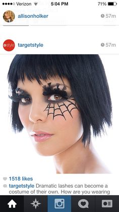 Halloween makeup, I'm pretty sure that Jennifer Lopez. Halloween Spider Makeup, Spider Web Makeup, Halloween Make Up, Holidays Halloween, Halloween Party, Halloween Crafts, Halloween Costumes, Maquillage Halloween, Hair Shows
