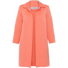 D.Exterior Coral Ribbed Ottoman Topper Coat (117.120 CLP) ❤ liked on Polyvore featuring outerwear, coats, jackets, casacos, abrigos, coral, open front coat, 3 4 sleeve coat, mid length coat and collar coat