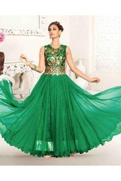 Green Color Zari Embroidery Gown Designer Anarkali, Designer Gowns, Indian Wedding Outfits, Indian Outfits, Indian Clothes, Ethnic Gown, India Wedding, Western Wear For Women, Anarkali Dress