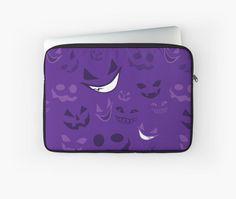 Spooky Faces Laptop Sleeve #halloween #ghosts #smile #spooky #purple