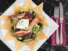 Grilled Chicken Salad Over Tortilla Chips