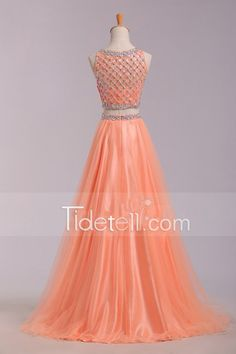 Hot Sale A-line 2 Pieces Tulle Long Prom Dress With Beading (1)