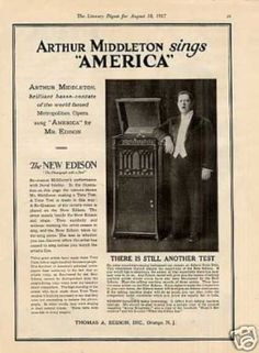 Edison Phonograph Ad Arthur Middleton (1917)