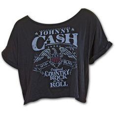 Johnny Cash Off Shoulder Juniors T Shirt - Black