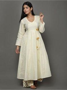 Off White Golden Angrakha Cotton Anarkali Suit - Set of 3