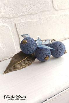 Brooch / Брошь булавка Синяя лава. - брошь с подвесками, булавка с камнями, голубой бирюзовый