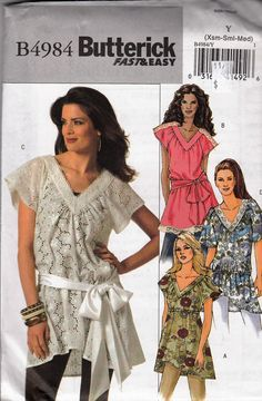 """Flirty Tunic Top & Sash V Neckline  -  Belted or Drawstring Waist  - Size 4-14 Bust 29.5-36"""" - Sewing Pattern Butterick 4984 by Sutlerssundries on Etsy"""