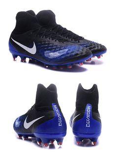 differently 690b9 4db2c Nike Crampons de Foot Magista Obra 2 FG ACC Noir Bleu Blanc