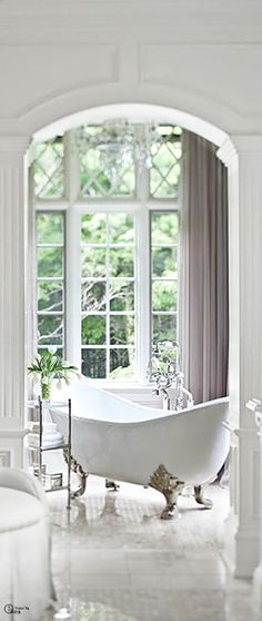 white, bathroom, window, bright, light, claw foot tub, interiors