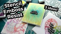 Video: Stencil Emboss Resist 3 Ways Card Making Tutorials, Card Making Techniques, Video Tutorials, Cool Stencils, Leaf Stencil, Embossing Techniques, Colouring Techniques, Embossed Cards, Cards For Friends