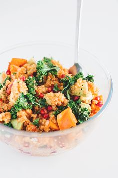 Detox Vegan Quinoa Salad with Kale and Pomegranate  ❌ Oil ❌ Maple syrup