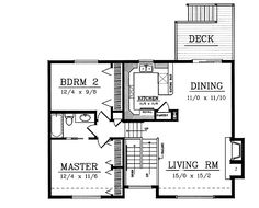 2 bed, 1 bath, 983 sq ft. Good sized rooms, huge bedroom closets. Could turn the stairs into two big closets: coat closet facing entry, storage closet facing hallway.