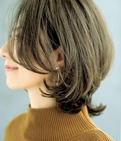 Pin on ファッションスタイル Medium Hair Up, Layered Haircuts For Medium Hair, Medium Hair Styles For Women, Wavy Bob Hairstyles, Short Hair With Layers, Above Shoulder Length Hair, Shoulder Hair, Thin Hair Cuts, Hair Upstyles