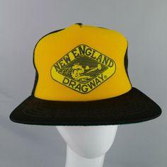 67472e19 Vintage New England Dragway Mesh Trucker Hat Snap Back New Era U.S.A.  #NewEra #Trucker