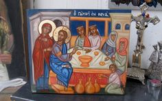 Contemporary byzantine hand painted art Marriage at Cana icon-
