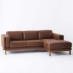 Dekalb Premium Leather 2-Piece Chaise Sectional | west elm