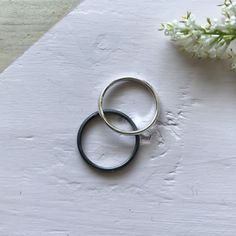 Stacking Rings, Hummingbird, Band Rings, Solid Black, Hand Stamped, Monochrome, Recycling, Silver Rings, Wedding Rings