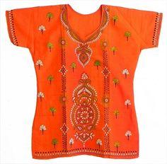 Saffron Kantha Stitch Kurti