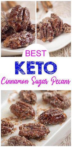 {Keto Pecans} Check out this EASY low carb keto cinnamon sugar pecan recipe. Crunchy oven bake not stove top candy pecan recipe for keto desserts, keto snacks - homemade Walnut Recipes, Pecan Recipes, Keto Recipes, Snack Recipes, Soup Recipes, Dinner Recipes, Sugar Coated Pecans, Cinnamon Sugar Pecans, Keto Desserts