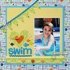 """Swim"" 1-pic, vertical, patterned paper, banner, border, twine, hearts, fish, ribbon, buckle, buttons"