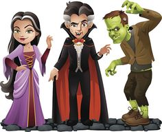 Cute Vector Halloween Characters: Vampire Lady, Dracula and Frankensteins Monster