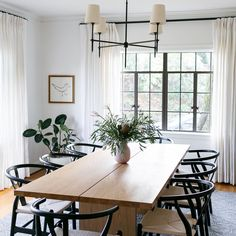 When your client wants to lighten their formal dining room AND loves wishbone chairs? Loved every minute of this project. Swipe 👉🏼 to see the before. Modern Dining, Boho Dining Room, Dining Room Small, Farmhouse Dining Room, Modern Dining Room, Dining Room Chairs, Dining Room Industrial, Farmhouse Dining Room Lighting, Dining Chairs
