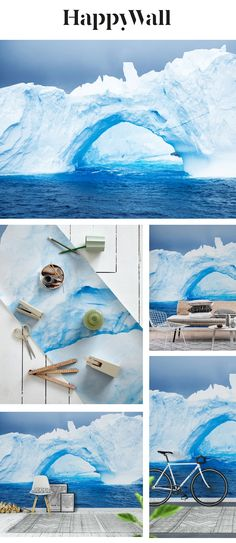 Iceberg wall mural from Happywall Wallpaper S, Bedroom Wall, Wall Murals, Photo S, Safari, Whimsical, Ice, Cold, Water